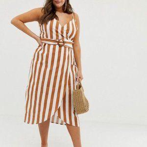 ASOS Curve Stripe Wrap Linen Blend Midi Dress Belt